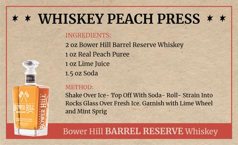 Whiskey Peach Press, Bower Hill Barrel Reserve Whiskey Recipe