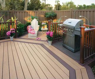 Beautiful composite deck with built in grilling area.