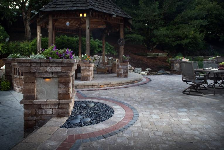 backyard make over with pavers retaining wall outdoor kitchen and more in atlanta georgia