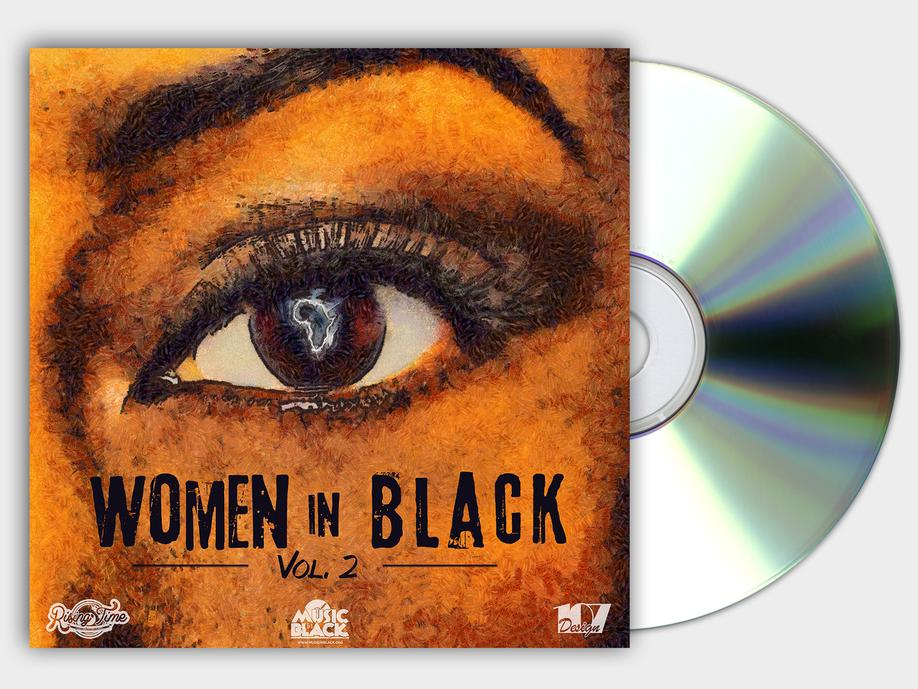 WOMEN IN BLACK VOL 2 COMPILATION COVER COPERTINA CD RISING TIME VOICE IN BLACK GRAFICA PROJECT DESIGN DESIGN107