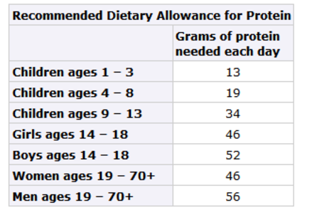 Recommended Dietary Allowance for Protein by age daily grams.