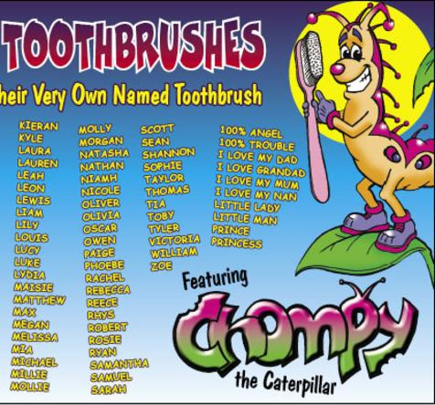 Chompy the Caterpillar cartoon logo caterpillar character for child's toothbrush