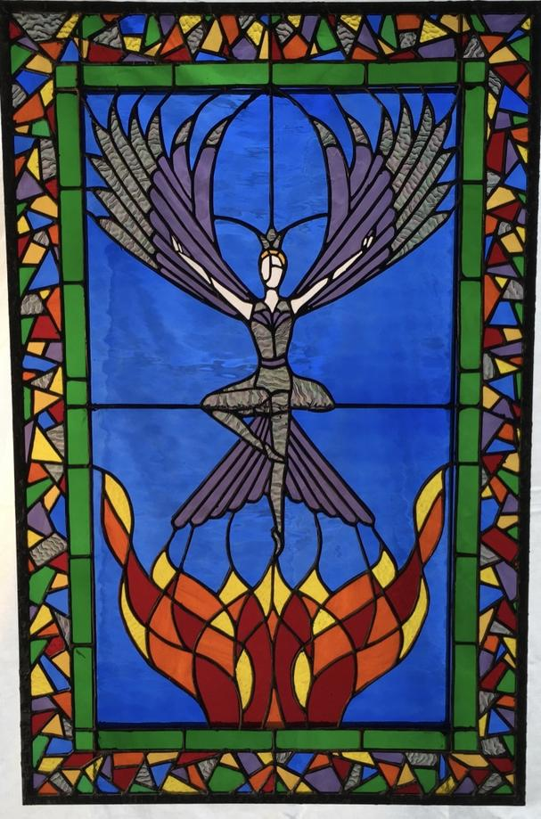 """The Phoenix Rising"" Stained Glass Window From The Ballet Firebird"