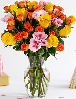 Rose and Godetia Summer Bouquet -yellow and orange rose bouquet -florist-flowers-flowers delivered-florist-london-london-florist-brixton-florist-pink-godetia