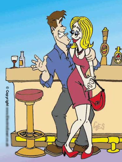 cartoon advertising couple in bar