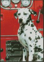 Cross Stitch Chart of Fire Department Dalmatian at the Pump
