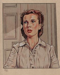 Vivian Leigh in GONE WITH THE WIND. Drawing by Cliff Carson