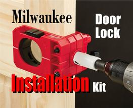 How to install bolt locks with the Milwaukee Door Lock installation kit. www.DIYeasycrafts.com