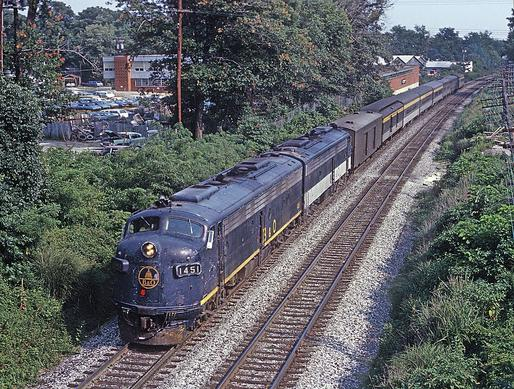 B&O No. 1451, an EMD E8A leading Train 5, The Capitol Limited, at Silver Spring, MD on July 19, 1970. Photo by Roger Puta.