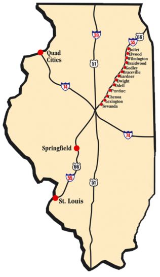 IL Route 66 Red Carpet Corridor map