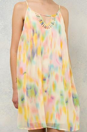 Yellow Watercolor Print Dress