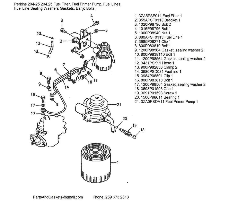 Perkins 204-25 204.25 Fuel Filter, Fuel Primer Pump, Fuel