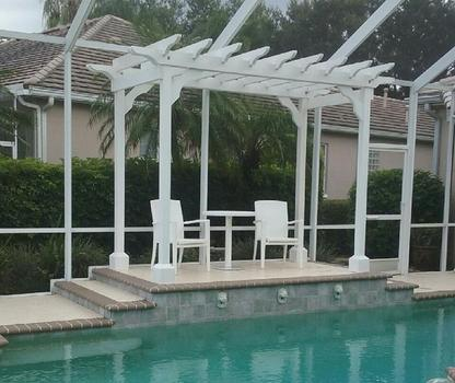 Beautiful white pool-side pergola.