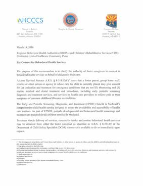 AHCCCS & DCS BHS Consent Clarification Letter