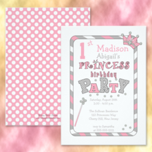 Pink, white and gray polka dots and stripes princess birthday party invitations