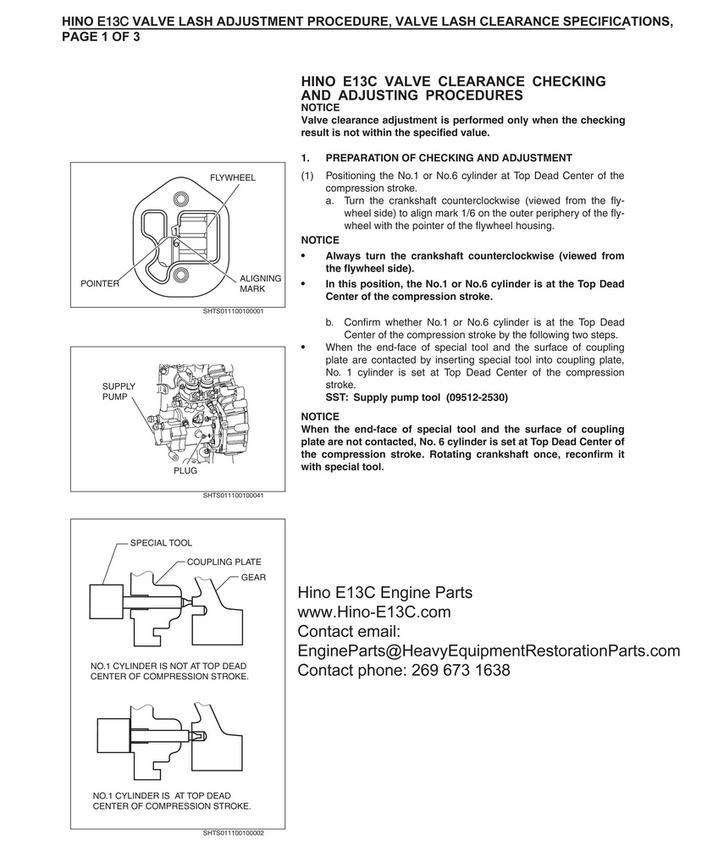 Hino E13C Engine Parts - Hino E13C, Engine Specifications