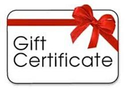 White Gift Certificate Card Image with red bow shown top right corner