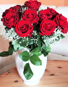 Luxury Dozen Red Naomi Roses with Gyp in Vase