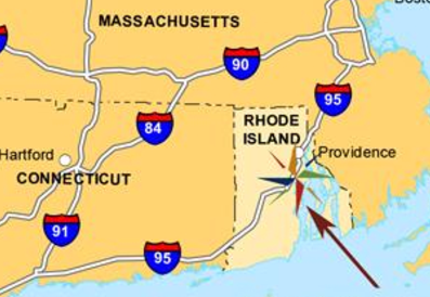 Location of Crowne Plaza Warwick RI