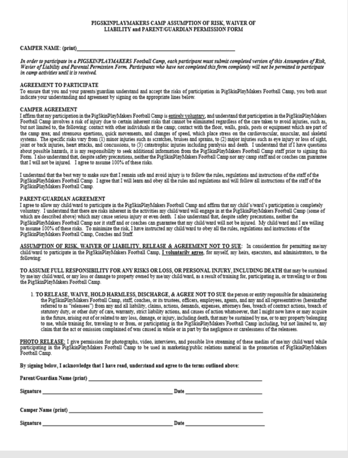 Camp Waiver Form
