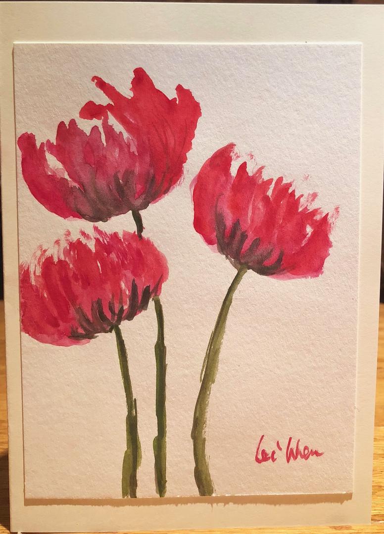Original Watercolor Blank Greeting Card Artist Lei