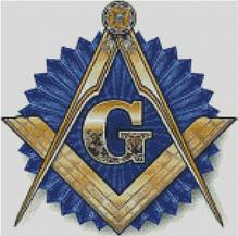Cross Stitch Chart Pattern of Freemasons Logo on Blue Rosette