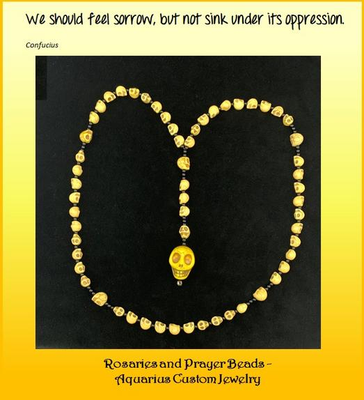 Yellow Skulls;skull rosary;skull prayer beads;Aquarius jewelry;old town road