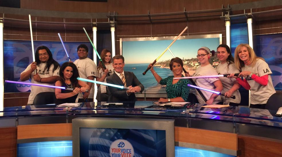 KABC Channel 7 Los Angeles (November 2014) Lightsaber Workout Offers Creative Workout Outside Gym