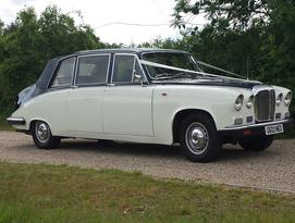 Daimler Landaulette limousine wedding car in blue over ivory - Essex Wedding Cars