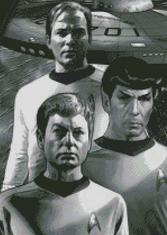 Cross Stitch Chart Pattern of Cpt Kirk, Mr. Spock and Bones in black and white