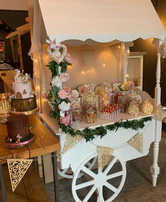 Guests enjoying sweet cart and cake package