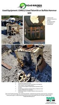 Used Telsmith or Buffalo Hammer Mill for Asphalt Plants and Quarries