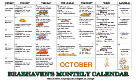 Braehaven Monthly Activity Calendar for October 2017
