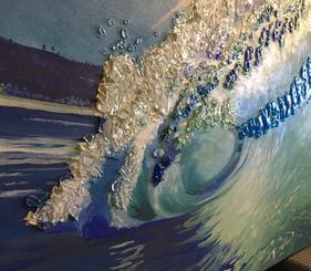 ocean wave, acrylic painting, fused glass,calgary artist, twist designs, glass art, custom art