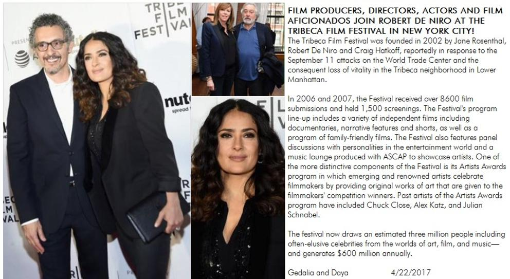 Salma Hayek, Robert DeNiro at tribeca film festival in new york