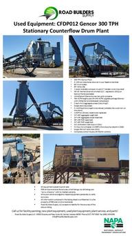 "300 tph Gencor plant 3- 150 ton silos (Astec) ! silo not in use and needs lined 60' truck scales 80' astec slat 1 astec tsransfer conveyor in use (2nd transfer is not mounted) 48'x9' Herman grant drum shell (1/2"", replaced in 2011) on GENCOR FRAME (portable) UltraFlame II Gencor burner (135, I think) set up for propane 48k ACFM baghouse with 54k ACFM upgrade package (Gencor with 150hp fan and dedicated compressor) 2 deck 4x12 agg screen (valu-king??) Single deck rap screen 4- cold feed bins (need relined, Probably the worst iron on the plant) 1-RAP bin (needs Grizzly replaced) 24""x60' agg weigh belt 24""x45' agg screen feed belt 36""x36' RAP reject belt 24""x80' RAP weigh belt A/C calibration tank (new in 2011) HiWay hot oil heater 1.5MM BTU (rebuilt hot oil pump 2018) Single 30K A/C tank (new 2011) Complete control house with Martin controls"