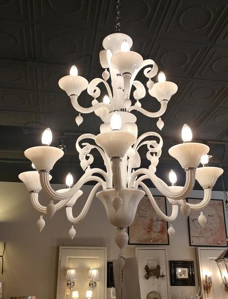 murano10 armed white chandelier cieling fixture italian 2 tier new