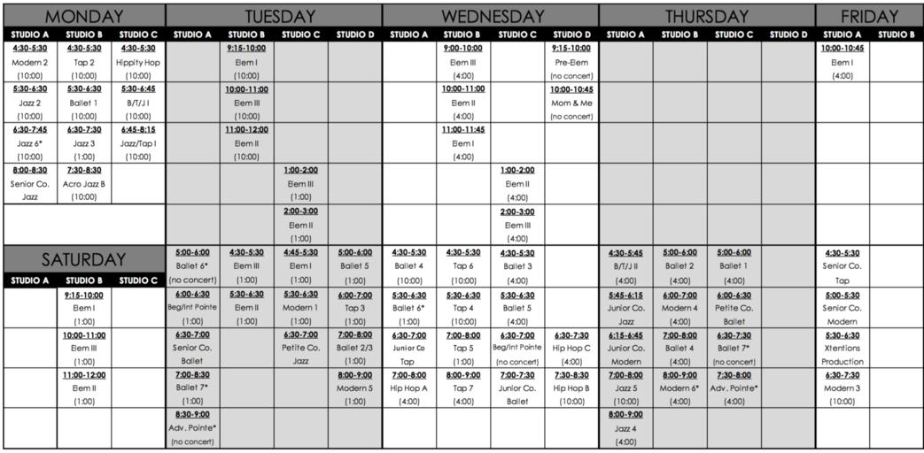 printable class schedule