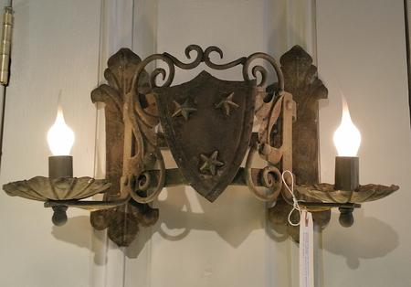 Metal wall sconce 2 arm electric French distressed old world classic desting antique vintage wall fixture