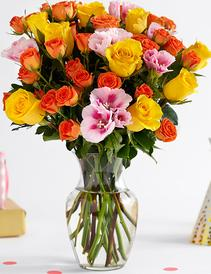 Yellow and Orange Rose Summer Bouquet-the-little-flower-shop-florist-summer-flowers-yellow-roses-orange-roses-godetia-godetia-bouquet-pink-godetia-florist-london-brixton-florist-florist-brixton