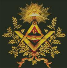 Cross Stitch Chart Pattern of Freemasons Logo and Eye in Golden wreath