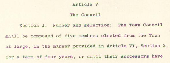 Image of Article 5 of the Town Charter
