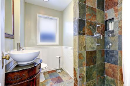bathroom remodeling contractor custom slate tile shower vessel sink installation Parker Colorado
