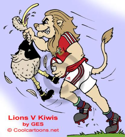Lions Tour Lions v Kiwis rugby cartoon animals T Shirt