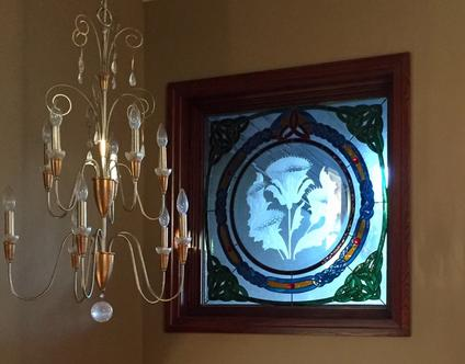 stained glass with sandblasted carved glass, calgary artist, twist designs. , custom stained glass windows