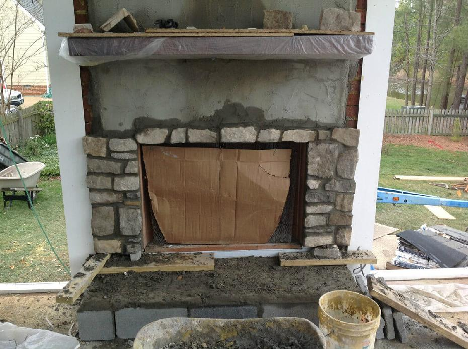 Stone Fireplace and Brick Chimney