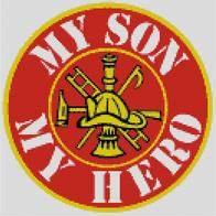 Cross Stitch Chart of Firefighter Son and Hero