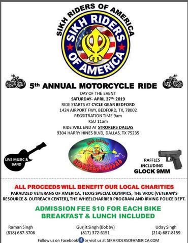 The annual Sikh Riders Of America ride for Dallas/Fort Worth will begin at Cycle Gear Bedford again this year!! We are honored to host the rides starting location for the 5th straight year!! Day of registration will begin at 9am. Kick stands up time TBD. The ride will begin here and end at Strokers Dallas! As they do every year the ride will benefit a local charity; and they will have some amazing raffle prizes to be had as well!! More details to come! Putting this up now so you can mark your calendars to be a part of one of the best rides in D/FW!!