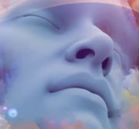 Image of person with closed eyes meditating and connecting to the Universe's Spiritual Realm