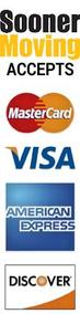 Sooner Moving Company accepts Mastercard, Discover, American Express and Visa Credit Cards.